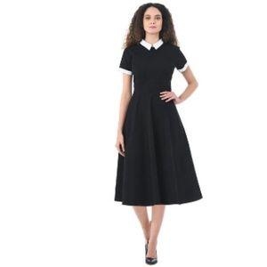 Contrast collar cotton poplin dress